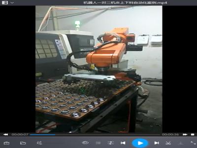 机器人一对二机床上下料自动化案例