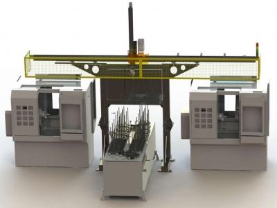 数控车床双联机桁架机械手,最具性价比和实用性的机床自动上下料机械手